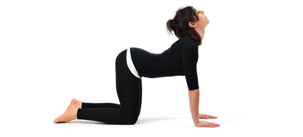 Get down on your fours and push down abdomen in a #Cat back pose to strengthen your liver. #Yoga
