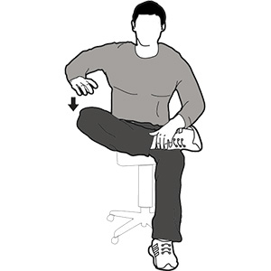 Figure four stretch with chair