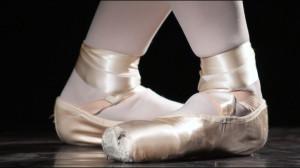 A ballerina's feet poised to do the ballet