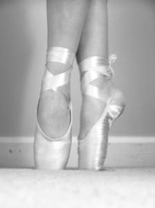 A ballerina's feet shown doing the ballet