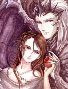 greek goddess persephone holding a pomegranate, beside hades