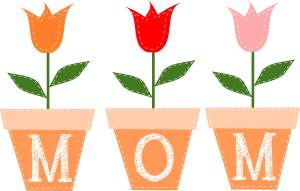 Mom written on flower pots