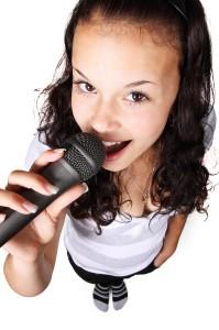 happy girl singing
