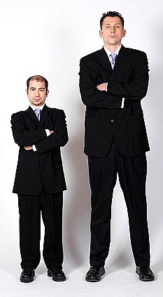 A tall and short man