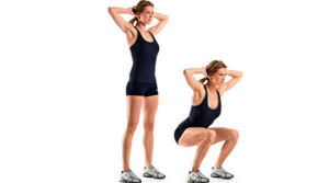 A girl doing squats